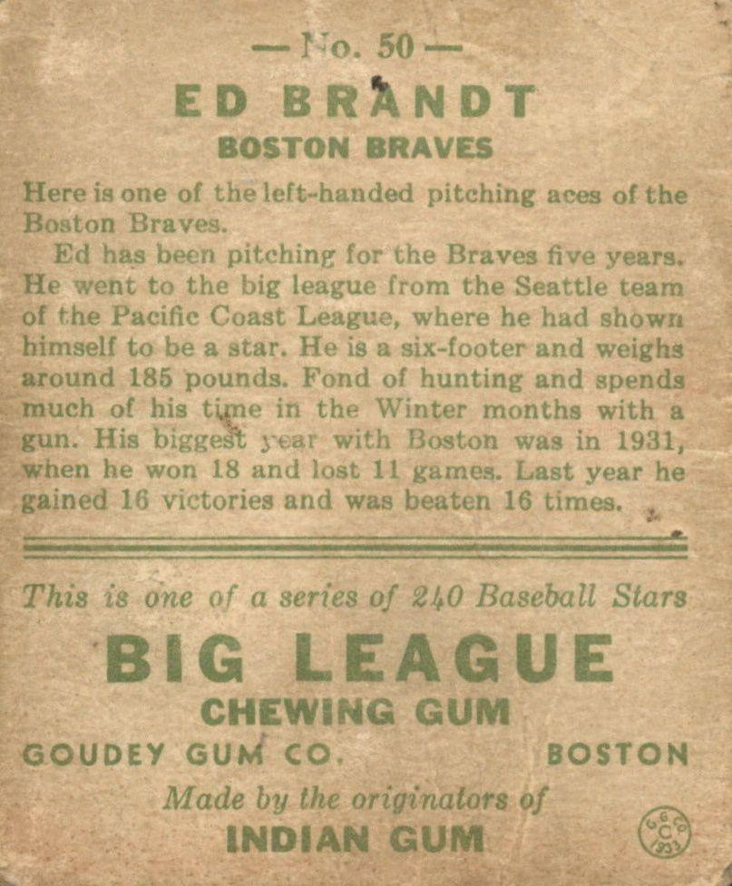 1933 Goudey #50 Ed Brandt RC back image