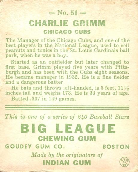 1933 Goudey #51 Charlie Grimm RC back image