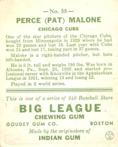 1933 Goudey #55 Pat Malone RC back image