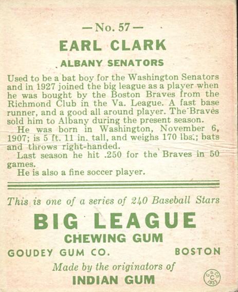 1933 Goudey #57 Earl Clark RC back image