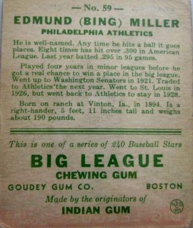 1933 Goudey #59 Bing Miller RC back image