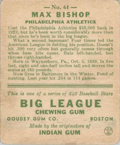 1933 Goudey #61 Max Bishop RC back image