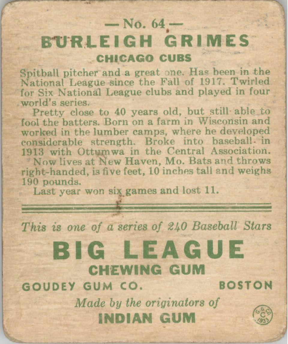 1933 Goudey #64 Burleigh Grimes RC back image