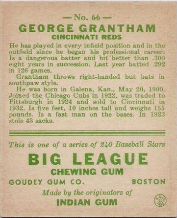 1933 Goudey #66 George Grantham RC back image