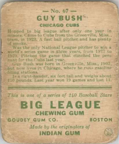 1933 Goudey #67 Guy Bush RC back image