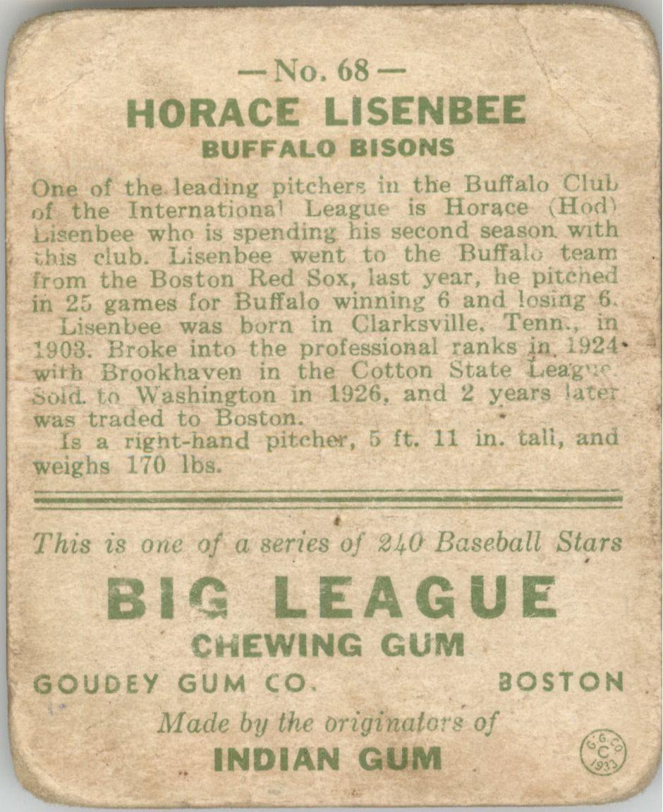 1933 Goudey #68 Horace Lisenbee RC back image