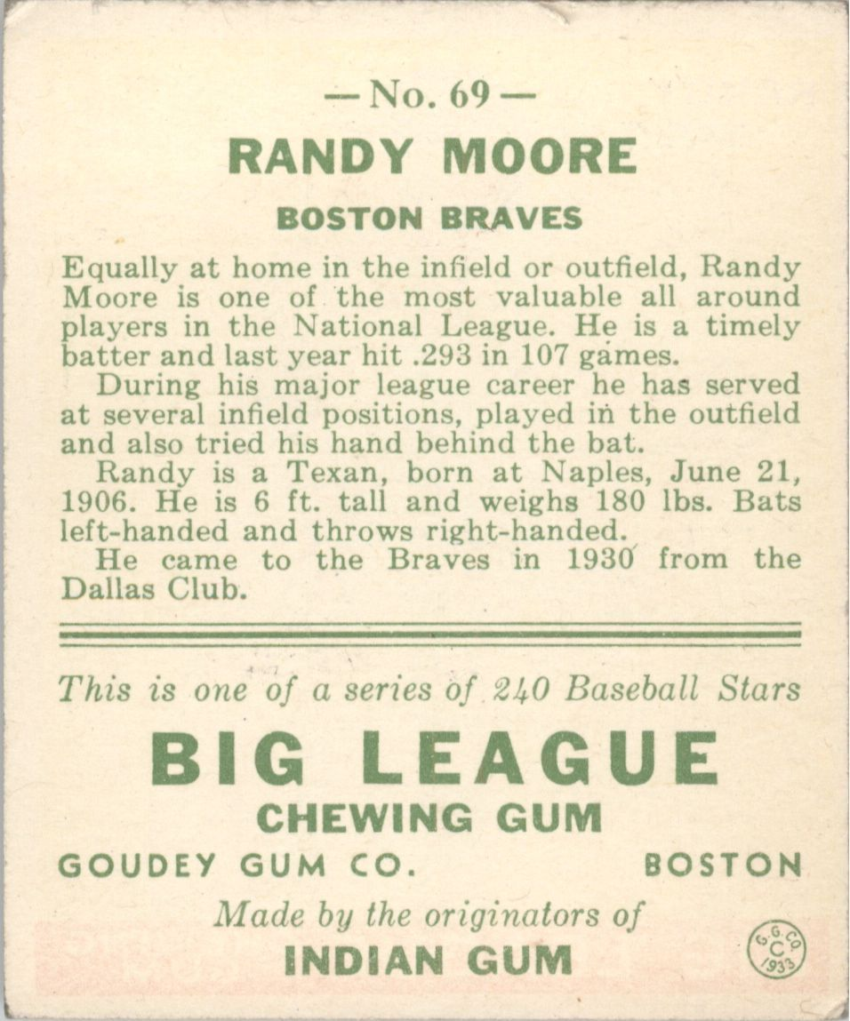 1933 Goudey #69 Randy Moore RC back image