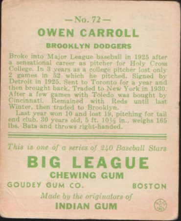 1933 Goudey #72 Owen Carroll RC back image