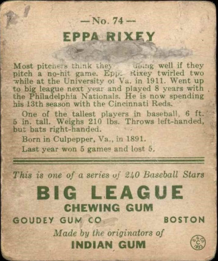 1933 Goudey #74 Eppa Rixey RC back image