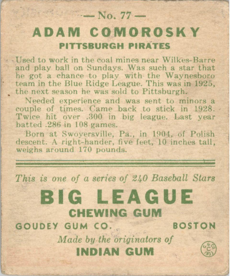1933 Goudey #77 Adam Comorosky RC back image