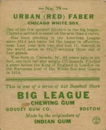 1933 Goudey #79 Red Faber RC back image