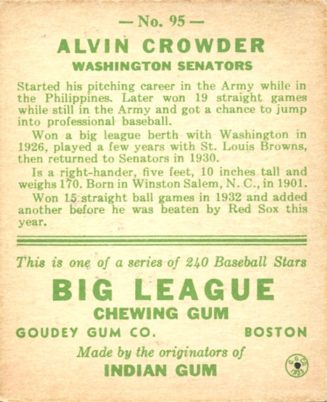 1933 Goudey #95 Alvin Crowder RC back image
