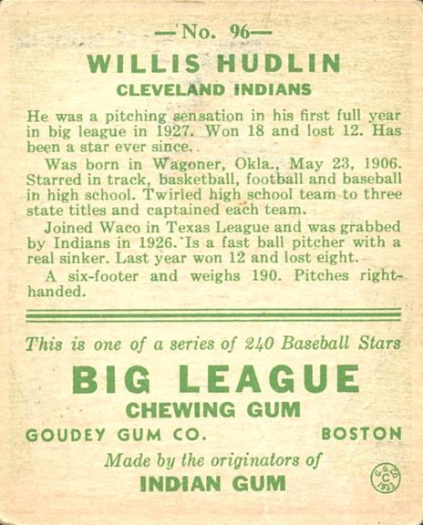 1933 Goudey #96 Willis Hudlin RC back image