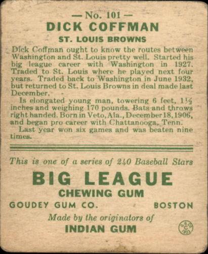 1933 Goudey #101 Richard Coffman RC back image