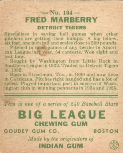 1933 Goudey #104 Fred Marberry RC back image