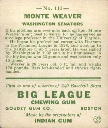 1933 Goudey #111 Monte Weaver RC back image