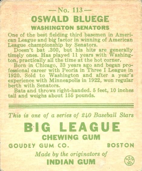 1933 Goudey #113 Oswald Bluege POR RC back image