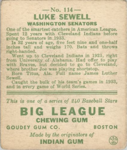 1933 Goudey #114 Luke Sewell FIELD RC back image