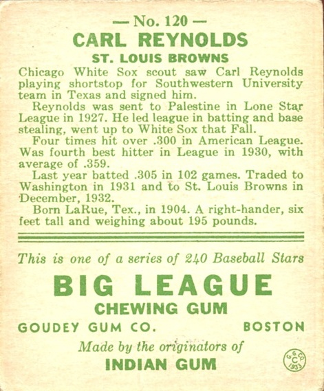 1933 Goudey #120 Carl Reynolds RC back image