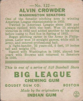 1933 Goudey #122 Alvin Crowder RC back image