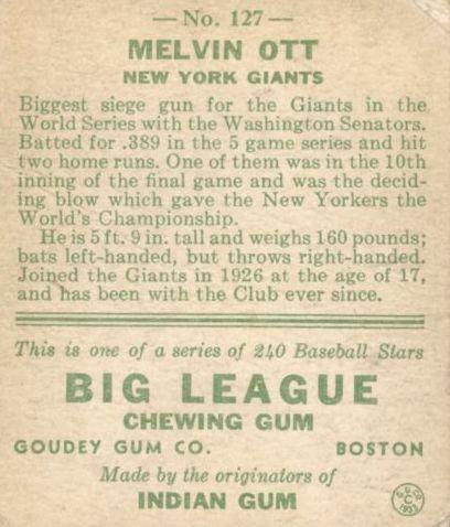 1933 Goudey #127 Mel Ott RC back image