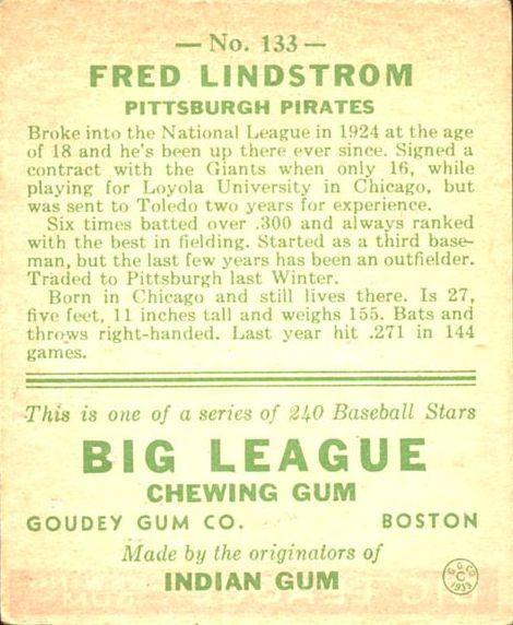 1933 Goudey #133 Fred Lindstrom RC back image