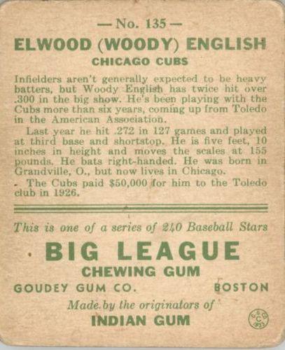 1933 Goudey #135 Woody English RC back image