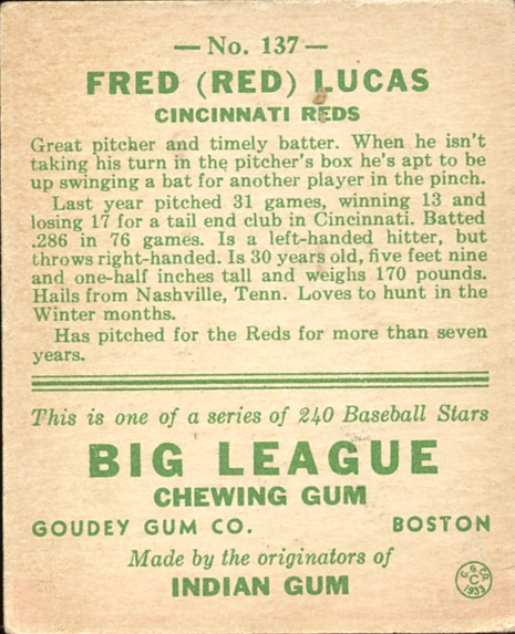 1933 Goudey #137 Red Lucas RC back image