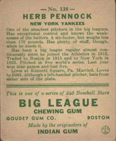 1933 Goudey #138 Herb Pennock RC back image