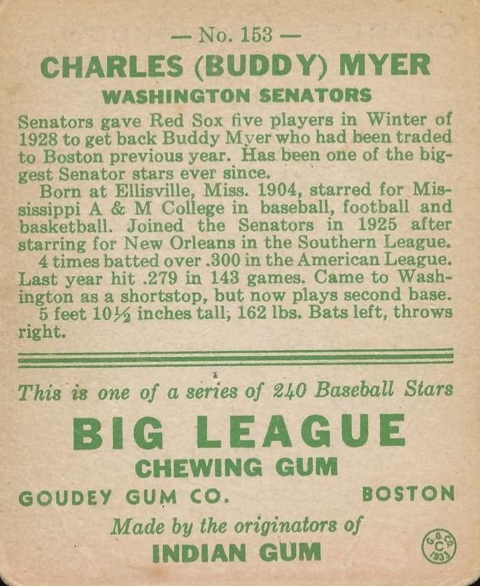 1933 Goudey #153 Buddy Myer RC back image