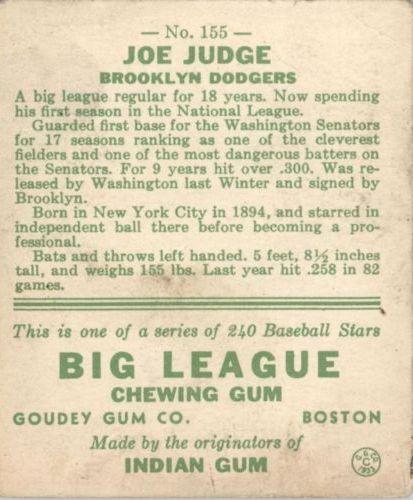 1933 Goudey #155 Joe Judge RC back image