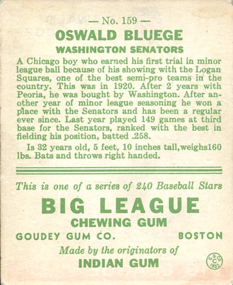 1933 Goudey #159 Oswald Bluege FIELD RC back image