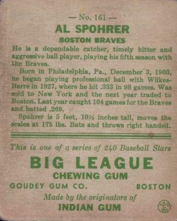 1933 Goudey #161 Al Spohrer RC back image