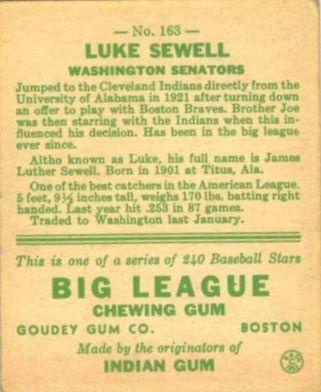 1933 Goudey #163 Luke Sewell POR RC back image