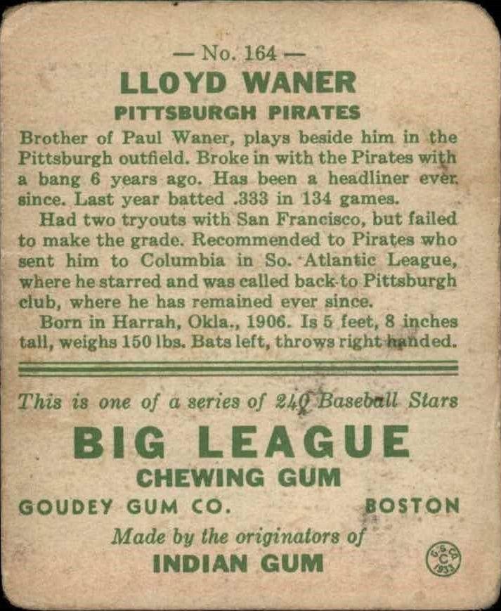 1933 Goudey #164 Lloyd Waner RC back image