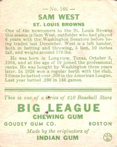 1933 Goudey #166 Sam West RC back image