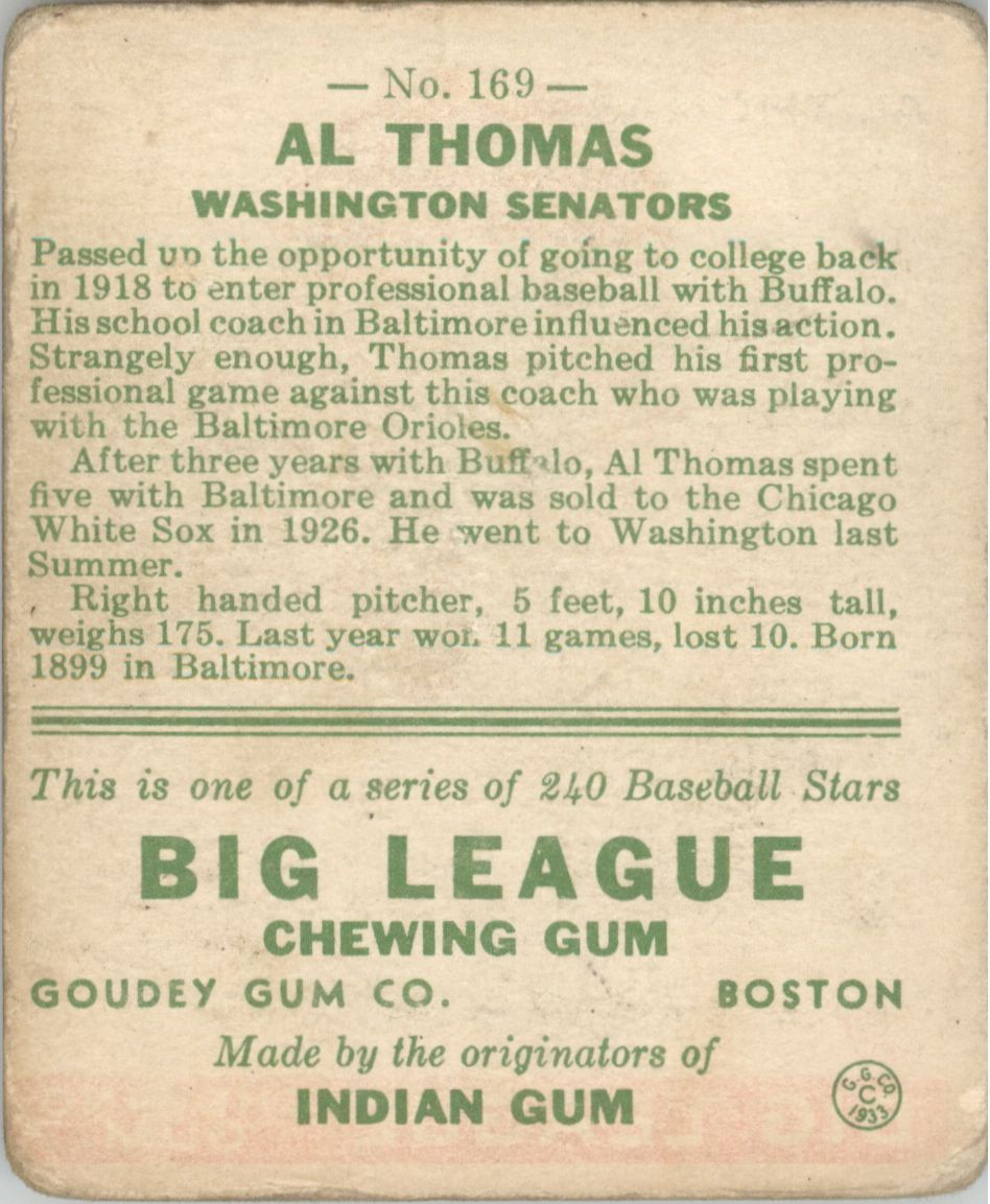1933 Goudey #169 Al Thomas RC back image
