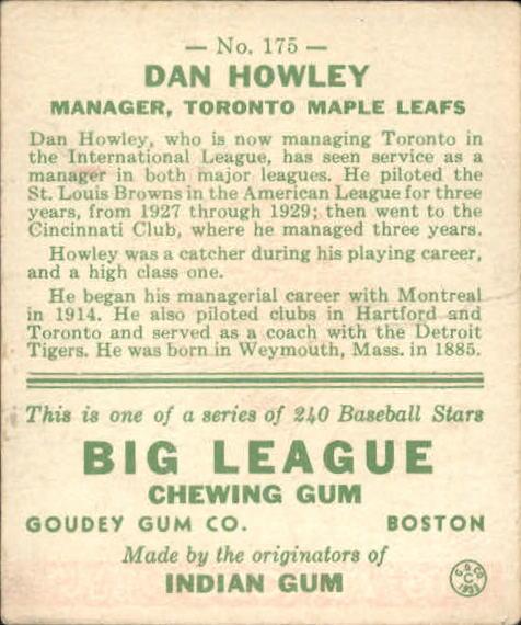 1933 Goudey #175 Dan Howley MG RC back image