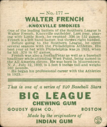 1933 Goudey #177 Walter French RC back image