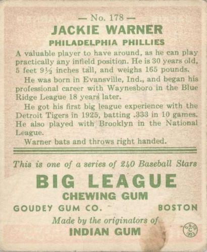 1933 Goudey #178 Jackie Warner RC back image
