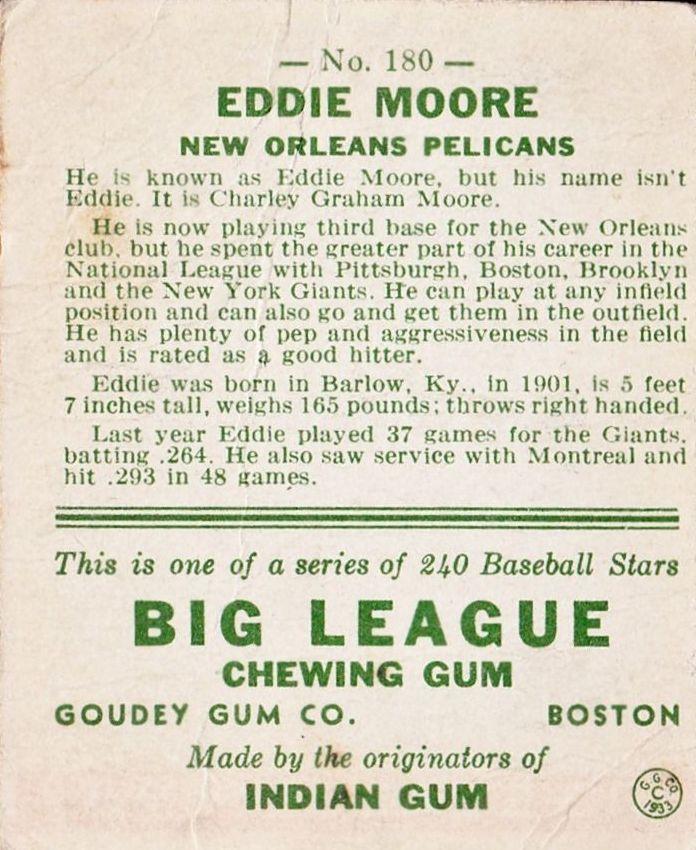 1933 Goudey #180 Eddie Moore RC back image