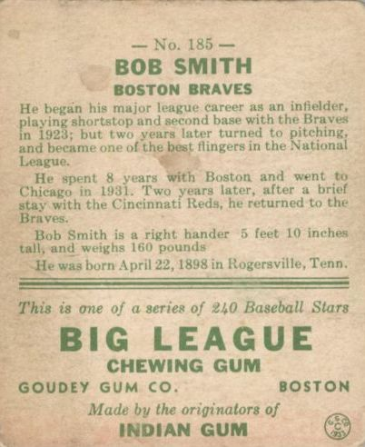 1933 Goudey #185 Bob Smith RC back image