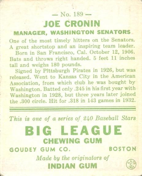 1933 Goudey #189 Joe Cronin RC back image