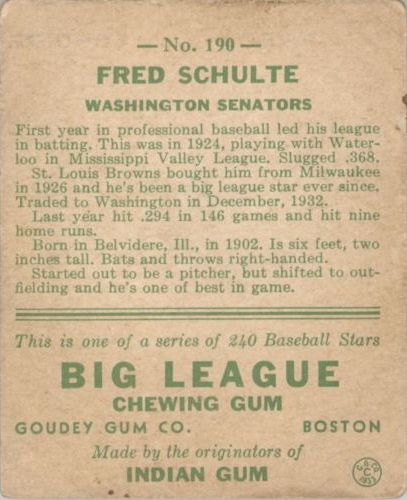1933 Goudey #190 Fred Schulte RC back image