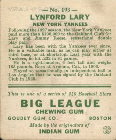 1933 Goudey #193 Lynford Lary RC back image