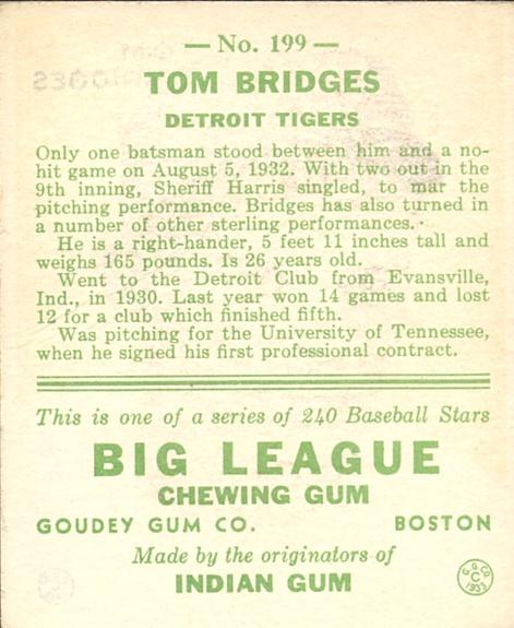 1933 Goudey #199 Tom Bridges RC back image