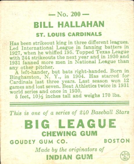 1933 Goudey #200 Bill Hallahan RC back image