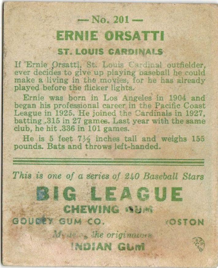 1933 Goudey #201 Ernie Orsatti RC back image