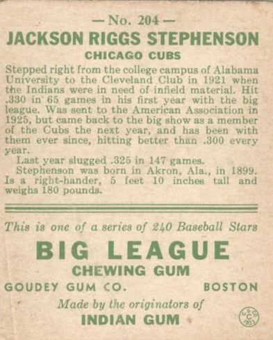 1933 Goudey #204 Riggs Stephenson RC back image