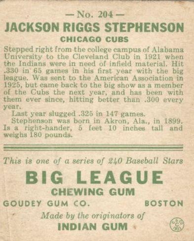 1933 Goudey #204 Riggs Stephenson RC back image